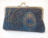Peacock blue clutch : Purse for peacock wedding / bridesmaid accessory