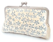 Clutch bag, wedding purse, bridesmaid gift, blue and white, ivory cloud