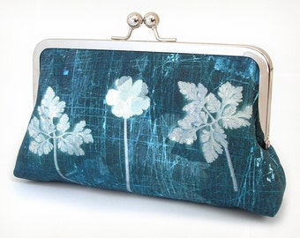 Clutch bag, blue fern purse, woodland wedding, bridesmaid gift, INDIGO FERNS