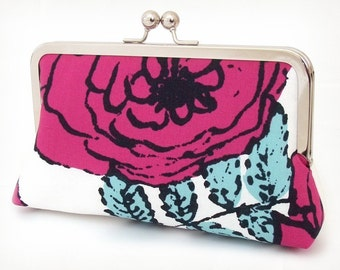 SALE: Clutch purse, pink rose, flower bag, ROSA