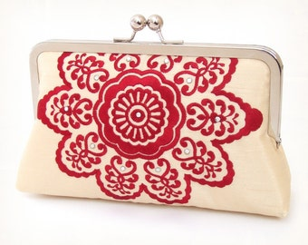 SALE - Clutch bag, red starburst pattern, red purse, bridesmaid gift, RUBY MANDALA