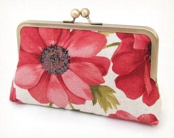 Red anemone flowers clutch bag, purse for wedding, bridal bag, bridesmaid gift ON SALE