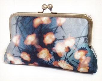Clutch bag, printed silk purse, woodland wedding, bridesmaid gift, FOREST LIGHTS