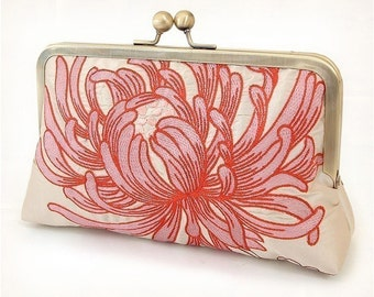 Clutch bag, pink and ivory silk purse, bridal clutch, wedding bag, bridesmaid gift, CORAL CHRYSANTHEMUM