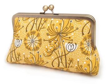 Yellow seedheads clutch bag, retro atomic print, silk-lined purse, bridesmaid gift, gift box