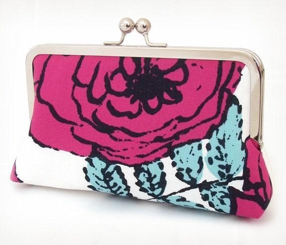SALE: Clutch purse, pink rose, flower bag, ROSA