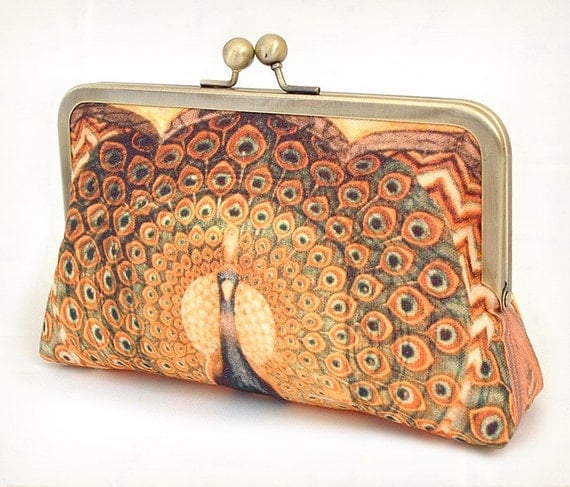 Peacock palace - A Red Ruby Rose original silk-lined clutch bag