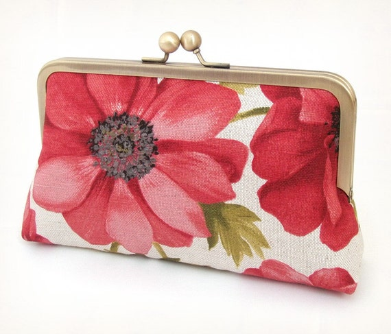 Red anemones clutch : Purse for wedding / bridal / party