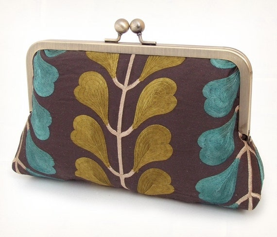 Chartreuse and teal leaf, embroidered silk clutch bag