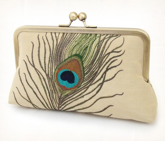 Peacock feathers clutch bag : luxury embroidered silk and linen with gift box
