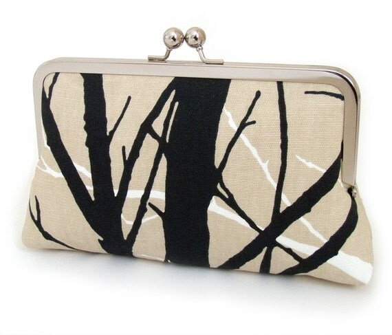 SALE - tree silhouette clutch, woodland purse, wedding, bridesmaid, birthday gift, black and taupe trees