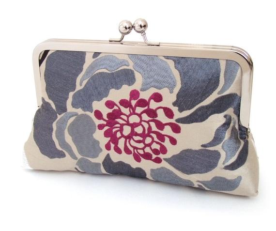 Cerise & charcoal bloom clutch : Silk purse / wedding / bridal / party