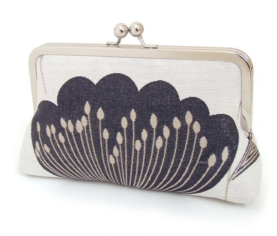 SALE: Clutch bag, flower purse, bridesmaid gift, silk-lined handbag, BLACK POPPY