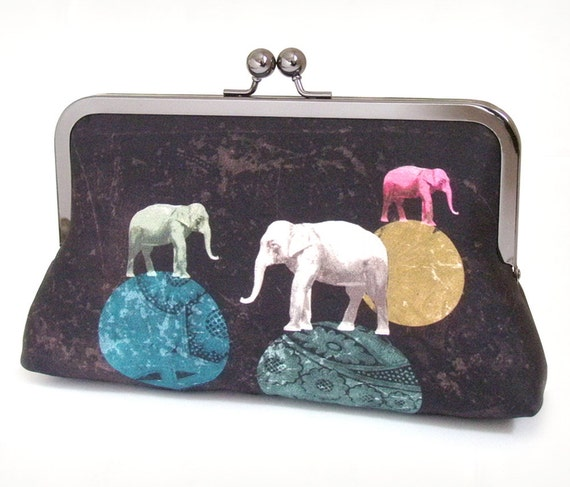 Clutch bag, original silk purse, ELEPHANTS