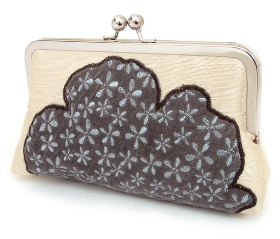 ON SALE: Cloud clutch, Silk purse / bridesmaid / bridal / party