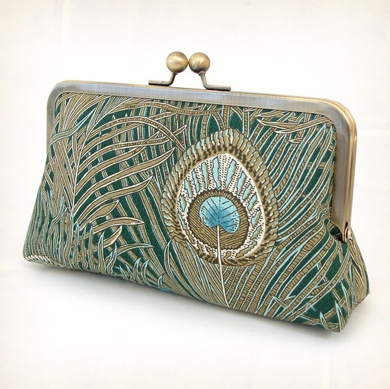 Classic Liberty peacock - luxury silk-lined clutch bag