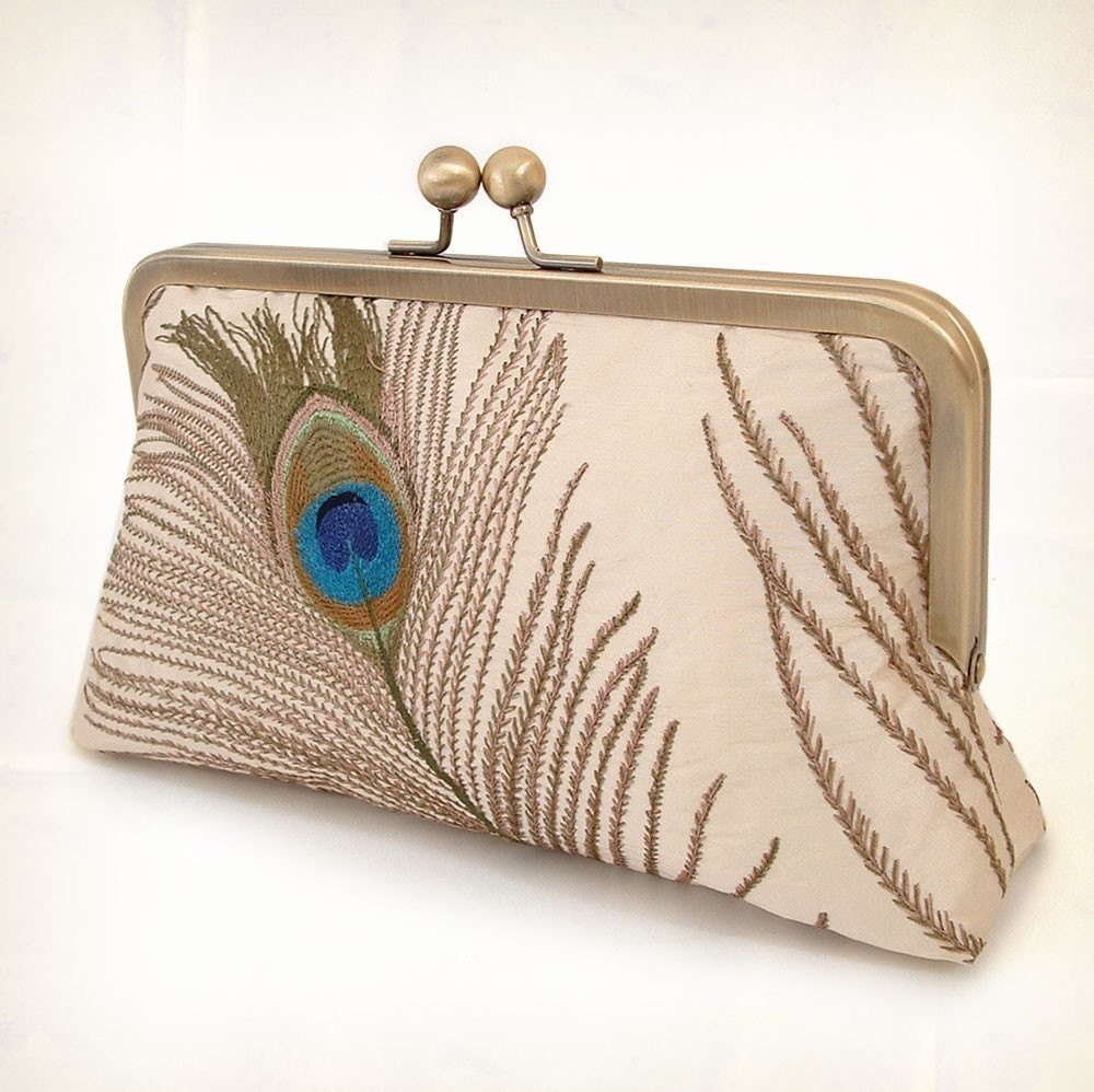 silk peacock feathers luxury clutch bag