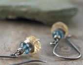 Reserved for Anna - Night and Day Earrings of London Blue Topaz and Citrine