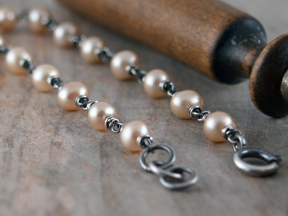 Sepia Bracelet - Sterling Silver and Freshwater Pearls