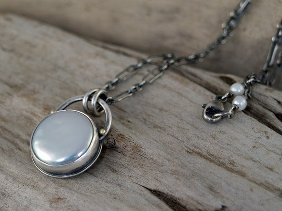 Luna - Sterling Silver and Coin Pearl Pendant