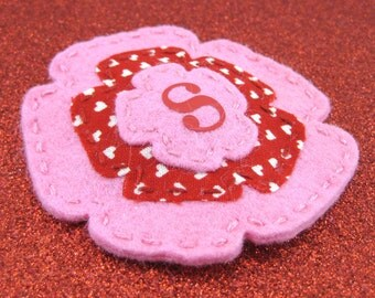 Personalized Valentine's Day Pink Triple Layer Wool Felt Flower Hair Clip