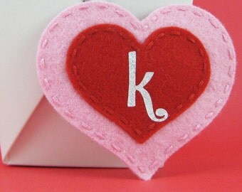 Valentine's Day Two Layer Pink/Red Heart Felt Hair Clip