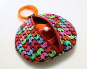 Paci Pod Bright Girl Elephants Binky Pouch Pacifier Case with clip baby gift