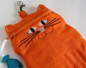 Tangerine Orange Cat shaped cell phone or camera case