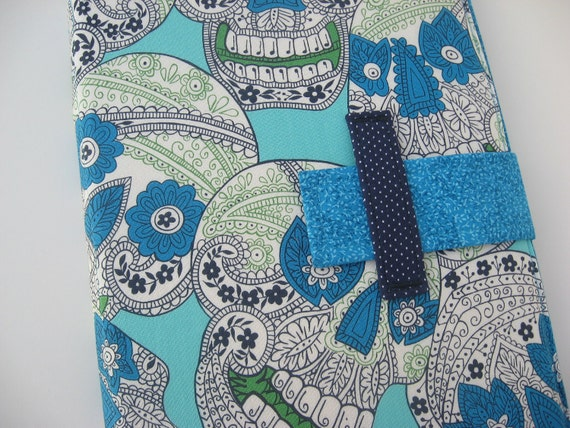 iPad case - iPad cover - iPad Stand - Handmade fabric iPad Case - Sugar Skull Design