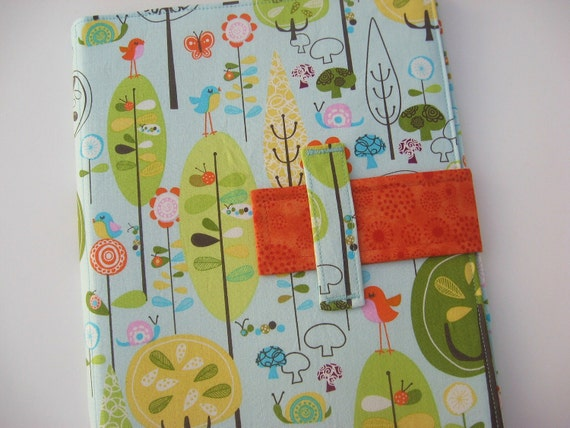 iPad case stand Birds and Trees fabric cover