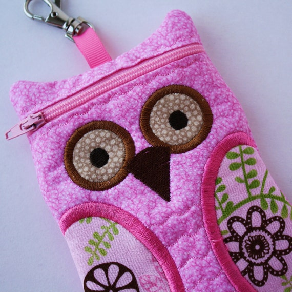 Flowers in Pink Owl Cell Phone Case Owl iPhone Case iPod Touch Case