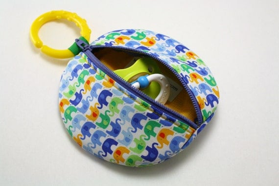 Paci Pod Cool Bright Boy Elephants Binky Pouch Pacifier Case