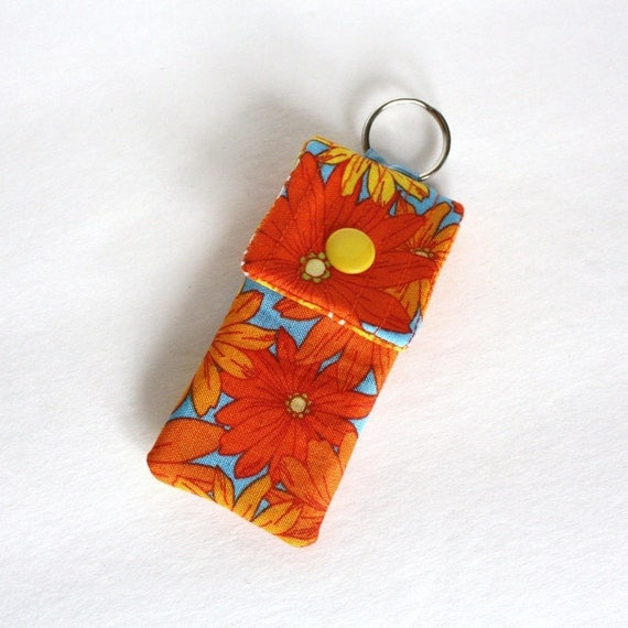 Keyring pouch Square USB case Tangerine floral