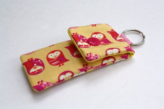 Keyring pouch Square USB case Owl print yellow