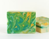 Earth Sweet Soap - Vegan Soap Colored Soap Green Yellow Cream Colors Swirled Soap
