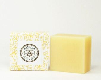 Citrus Luxury Soap, Shea Butter Premium Soap, Lemon Scented Soap, Facial Soap -- Lemon Verbena Shea Butter Soap in Large Size