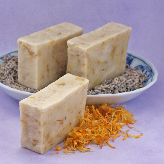 Chamomile Tea and Lavender ALL NATURAL Soap With Calendula Petals