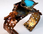 Copper Cuff Bracelet - Featuring Handmade Copper, Sleeping Beauty Turquoise and Leather- Enveloped Blue