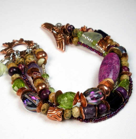 Mixed Gemstone, Multi Strand Bracelet with Handmade Copper, Sugilite, Petrified Wood, Peridot, Amethyst, and Rainbow Quartz- Sonoma