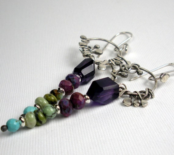 RESERVED For Beverly- Silver Gemstone Earrings- Featuring Wrapped and Forged Sterling Silver with Mixed Gemstones
