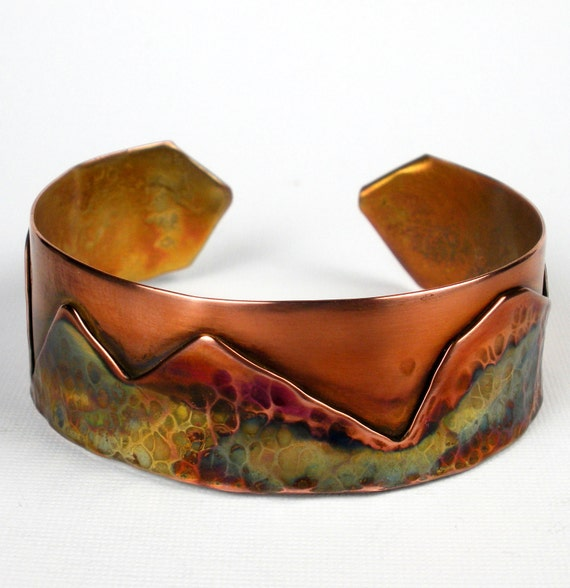 Hammered Copper Cuff - Hammered and Fold Formed Rustic Cuff Bracelet with Mountain Scene and Colorful Heat Patina- The Great Divide