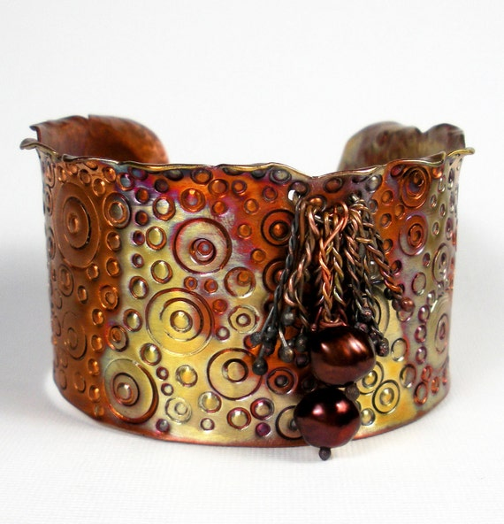 Rustic Hammered Copper Cuff, A Forged Wide Copper Cuff - Hand Stamped Pattern, Freshwater Pearls, Earthy Heat Patina- Sulawesi