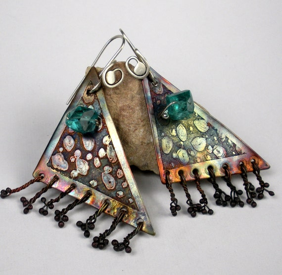 Etched Copper Earrings- Copper Dangle Earrings, Asymmetrical Earrings,  Apatite and Copper with a Colorful Heat Patina-  Bermuda Triangles
