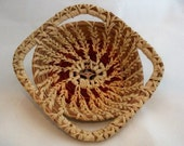 Square Pine Needle Basket With Deep Red Accents