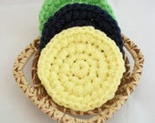 Three round Scrubbies, the Citrus Collection