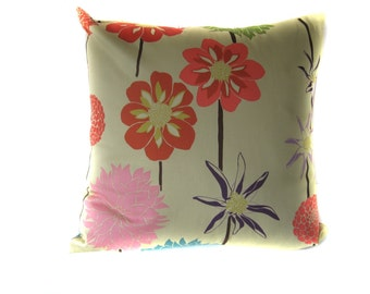 Tan Orange Blue Pink Purple Aqua Floral Pillow Cover, Decorative Throw Pillow Cover/Choose Size/Valerie Wells Designer Fabric/One (1) Cover