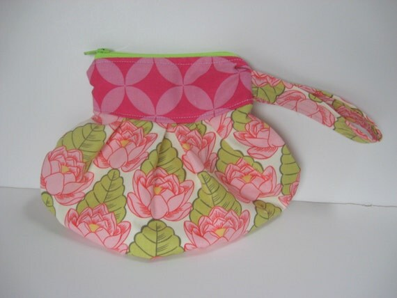 The Pleated Ziplet made with Amy Butler Discontinued Belle Pink Lotus Pond