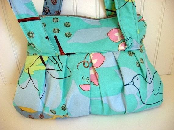 Green Garden Handbag handmade with Anna Maria Horner Sketchbook Fabric
