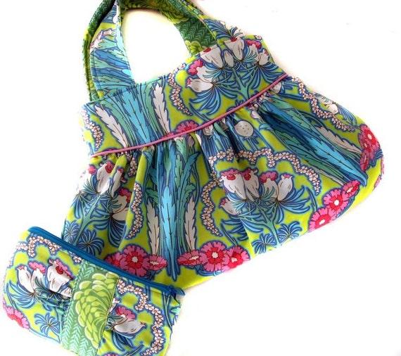 Mara Bag vibrant floral gathered handbag with matching zipper purse