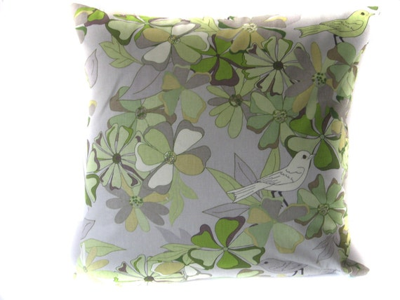 "Custom Order for Jenni Pillow Cushion PIllowcase Cover:  Floral  Bird Hues of Gray and Green - 18"" Square"